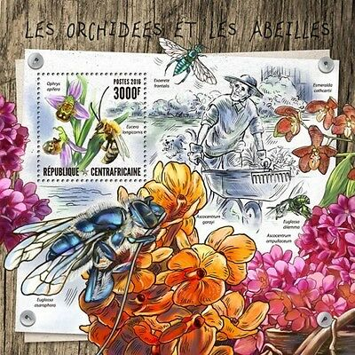 Z08 CA16801b CENTRAL AFRICA 2016 Orchids and bees MNH
