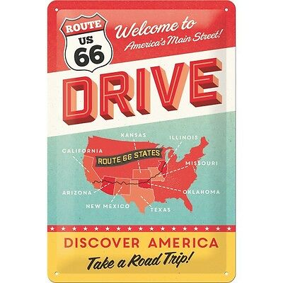 Route 66 Drive Embossed Vintage Retro Metal Tin Sign Garage Bar Wall Decor