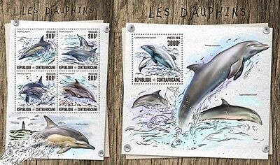 Z08 IMPERFORATED CA16807ab CENTRAL AFRICA 2016 Dolphins MNH Set