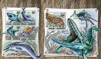 Z08 IMPERFORATED CA16811ab CENTRAL AFRICA 2016 Prehistoric water animals MNH Set