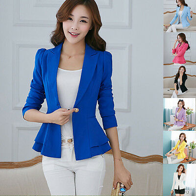 Women Slim OL Suit Casual Blazer Jacket Coat Tops Outwear Long Sleeve S- XXXL