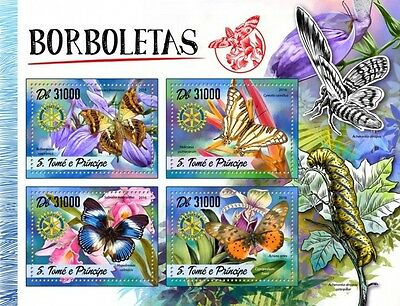 Z08 IMPERFORATED ST16508a Sao Tome and Principe 2016 Butterflies MNH