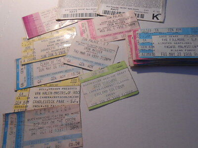 Huge Lot of Heavy Metal Concert Ticket Stubs, Iron Maiden, Slayer, Metallica Etc