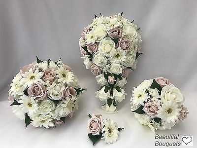 Wedding Flowers Ivory Rose bouquet  Bride, Bridesmaid, Flower Girl wand gerbra