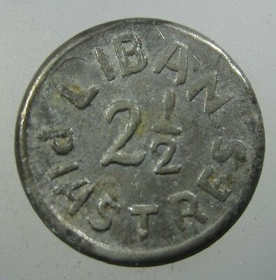 Lebanon Liban 2 1/2 Piastre 1941 Aluminum #m Nd Wwii Emergency Money World Coin