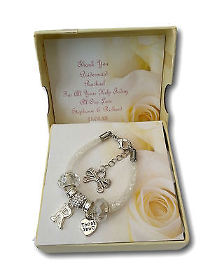 Thank You Gift Charm Bracelet Wedding Bridesmaid Flower Girl  Favour Present