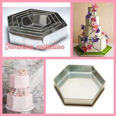 Proffessional Heavyduty 4 Tier Hexagon Anniversary Wedding Cake Baking Tins Pans