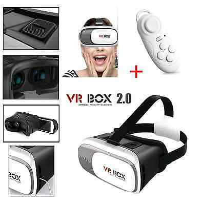 VR BOX 2nd Gen Reality 3D Glasses Headset for iPhone 7 + Bluetooth Control UK