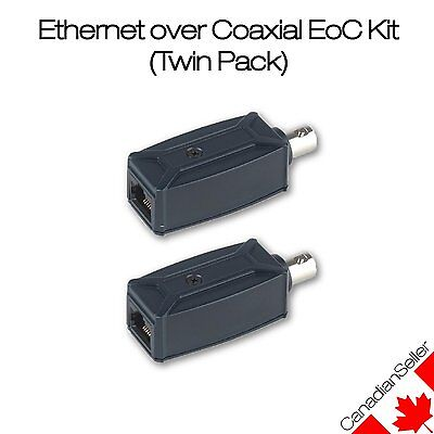 Ethernet over Coax EoC Kit (Twin pack) - Sends network signal over coaxial cable