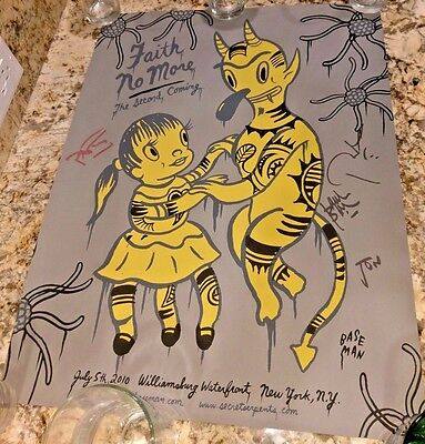 Faith No More SIGNED Poster Williamsburg Waterfront Brooklyn NY 7/5/10 Grey