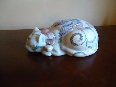 Large Ceramic Sleeping Cat With Butterflies