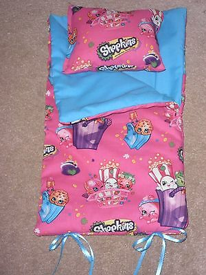 "HANDMADE SLEEPING BAG  Shopkins  For Ameecan Girl 18"" Age 3+"