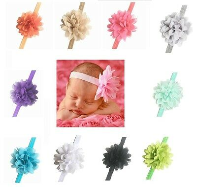 10 x Baby Girls Hairband Bow Soft Head Elastic Band Headband Flower Hair Access