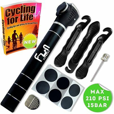 Mini Bike Pump with Tyre Repair Kit & Glueless Puncture Patch  Portable Bicycle