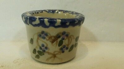 ALPINE POTTERY of Roseville  Ohio Miniature Crock with a Heart and Flowers 1997