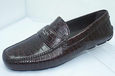 Prada Mens Shoes Loafers Calzature Uomo Drivers Size 9 Brown Leather NIB