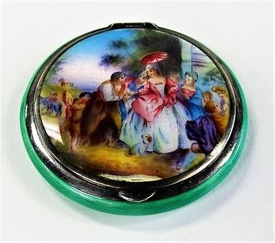 Antique VICTORIAN Compact HAND PAINTED,  LOVERS SCENE & Sea foam Green Guilloche
