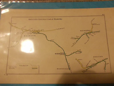 1928 Railway map of Andover Basingstoke and Reading