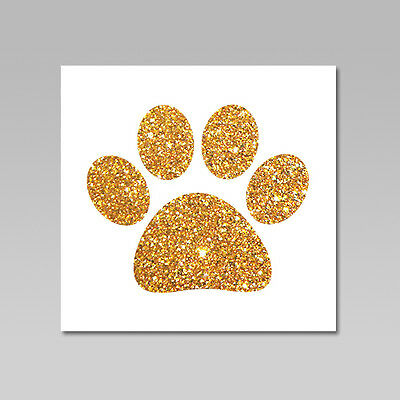 Pet Dog Paw Print Glitter Flake Iron On Heat Transfer, 18 Available Colors
