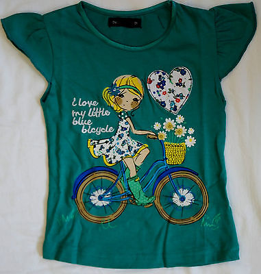 """JOBLOT OF 8 x """"I LOVE MY BICYCLE"""" GIRLS GREEN T-SHIRTS AGED 2-4"""