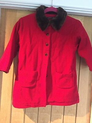Girls Red Wool Coat Aged 8