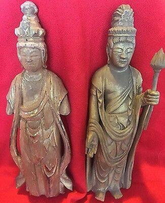 Two Very Old Japanese Wood Buddha Kwan-Yin Statues Figures Buddhism Hand Carved