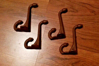 Lot Of 4-Cast Iron Vintage Design Old English/school Acorn Coat/scarf Brown Hook