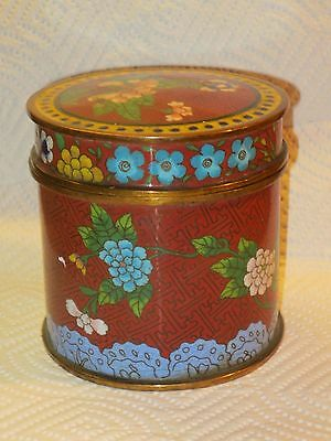 Antique Chinese Cloisonne Bronze Enamel Container With The Lid
