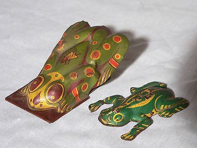 """Two vintage tin toys- noise maker frog clicker, jumping frog, Kirchof, 3"""""""
