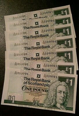 2001 Scotland/Scottish £1 pound banknote all Crisp, Uncirculated/Unc Notes