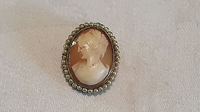 Seed pearl & shell cameo vintage Victorian antique maiden brooch