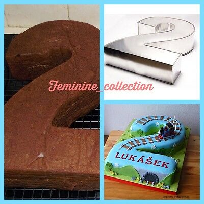 """Large Number 2 two Cake Tin pan Mould Birthday Anniversary Measure 14""""x10""""x3"""""""