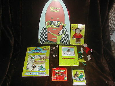 New Set Of 8 Various Curious George Items Which Includes Bookplates And Clippers