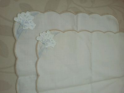 Set of 2 Linen Embroidered Tray Cloths/Place Mats/Tableware sandy beige