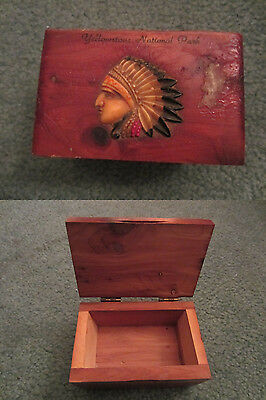 Vintage Cedar Souvenir Box With Celluloid Indian Chief Yellowstone 1950's