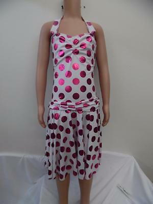 Dance Costume Large Child Pink/White halter dress Solo Competition Pageant Glitz