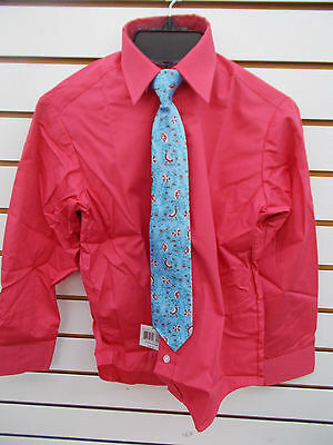 948dee095 Boys Perry Ellis $28 Claret Red Long Sleeved Dress Shirt w/ Clip-On Tie