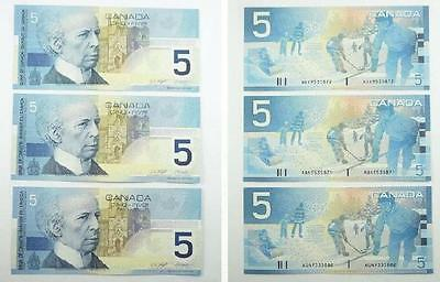 3 Bank of Canada 2002 Series $5.00 / Five Dollars Banknotes - AU+ to Near UNC
