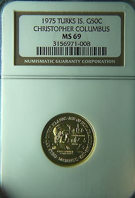 1975 Turks & Caicos Island Gold 50 Crowns Christopher Columbus NGC MS69