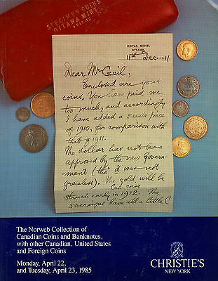 Norweb Collection Canadian Canada Coin Banknotes CHRISTIE 1985 Catalog Reference