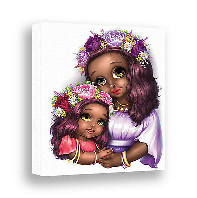 African American Dark Skin Girl Room Decor Canvas Wall Art Mother Daughter Gift