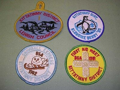 4 Kittatinny District Event Patches, BSA, 1980's, Very Colorful