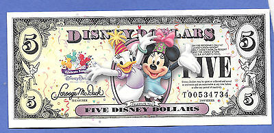 """2009 $5 Disney  Dollars """"celebrate You""""- Daisy & Minnie-Uncirculated """"t"""" Series"""