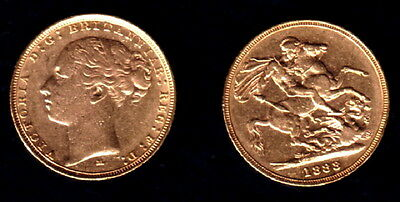 1883 Melborne Old Gold Early Head Victoria  Sovereign--Attractive - Detailed