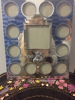 "Carter's Embossed ""My First Year"" Monthly Photo Frame Silver"