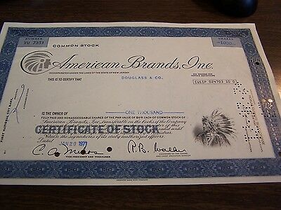 Vintage - American Brands Inc - 1000 Shares Cancelled Stock Certificate
