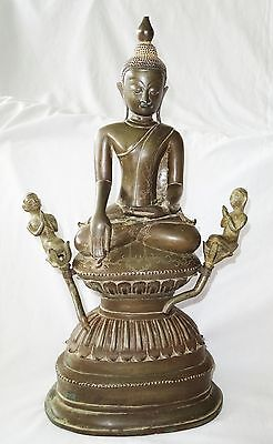 18CT Burmese Mandalay School Seated Bronze Buddha w. 2x Attendent Figures (Je)