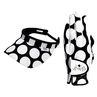 New Glove It Mod Dot Women's Golf 2 Piece Set with Leather Glove and Coil Visor
