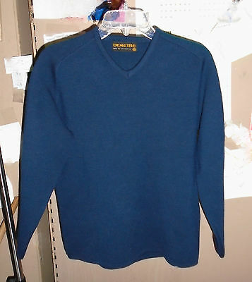 VTG DEMETRE 100% Virgin Wool Ski Winter pullover SWEATER Mens SMALL Blue