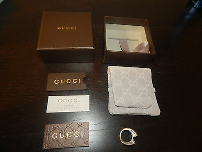 Auth Gucci 925 Sterling Silver Bypass Womens Ring Topaz + Box
